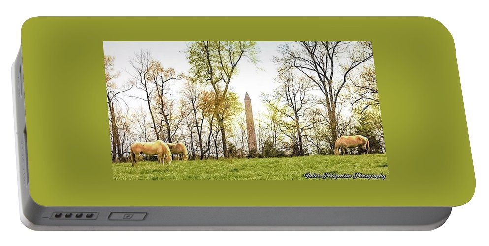 Jefferson Davis Monument Portable Battery Charger featuring the photograph Jefferson Davis Monument Horses by Chad Fuller