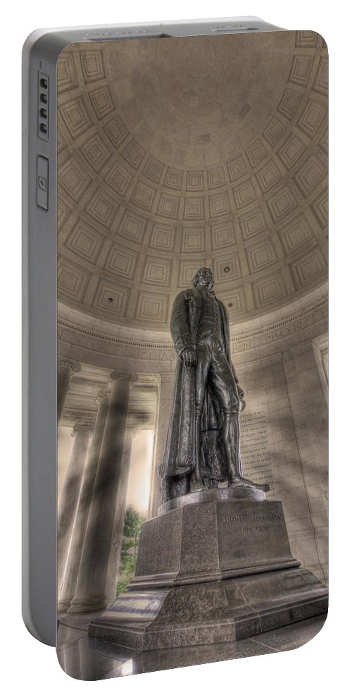 Sold Portable Battery Charger featuring the photograph Jefferson Memorial by Shelley Neff
