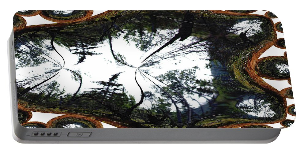 Trees Forest Life Cells Abstract Earth Sky Scenery Weird Different Green Land Portable Battery Charger featuring the photograph Jellin by Andrea Lawrence
