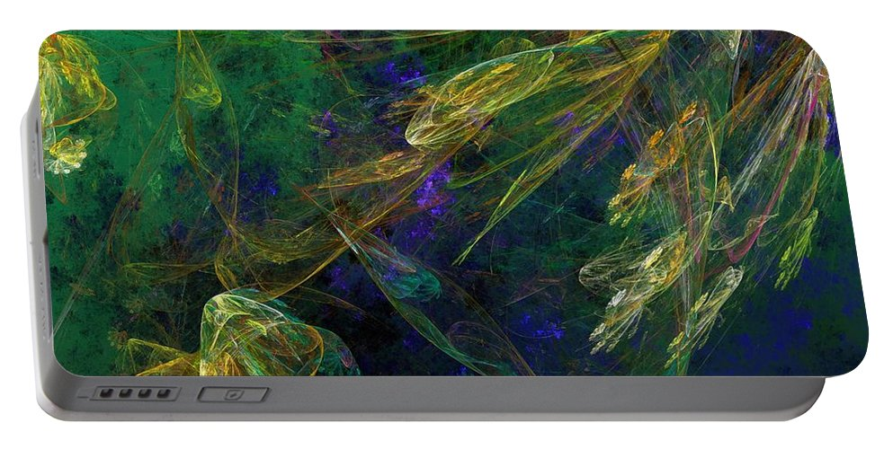 Fantasy Portable Battery Charger featuring the digital art Jelly Fish Diving The Reef Series 1 by David Lane