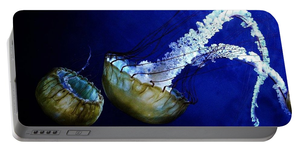 Jelly Fish Portable Battery Charger featuring the digital art Jelly Fish by Ron Bissett