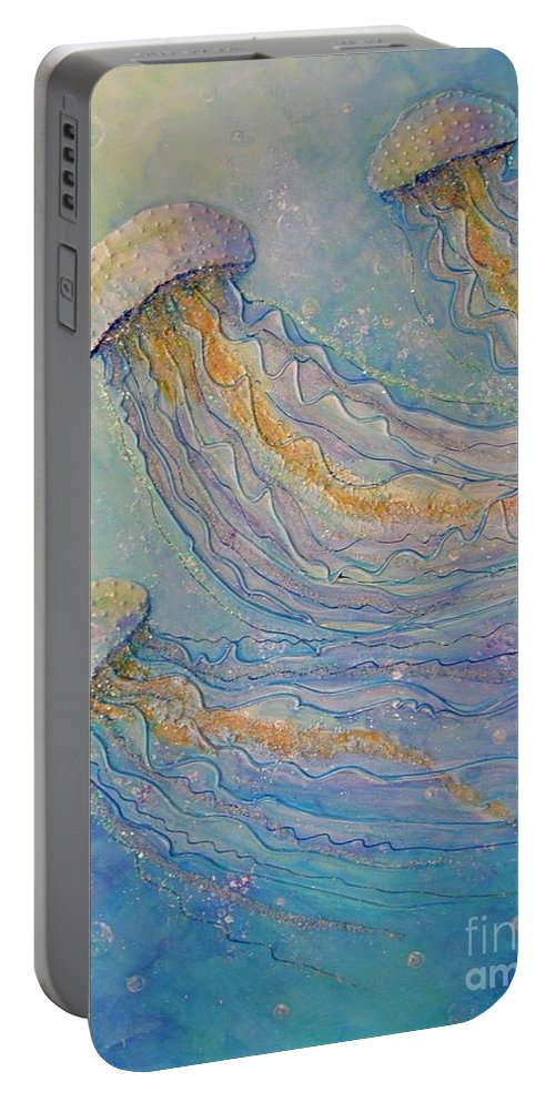 Sparkles Portable Battery Charger featuring the painting Jellyfish Dance by Midge Pippel