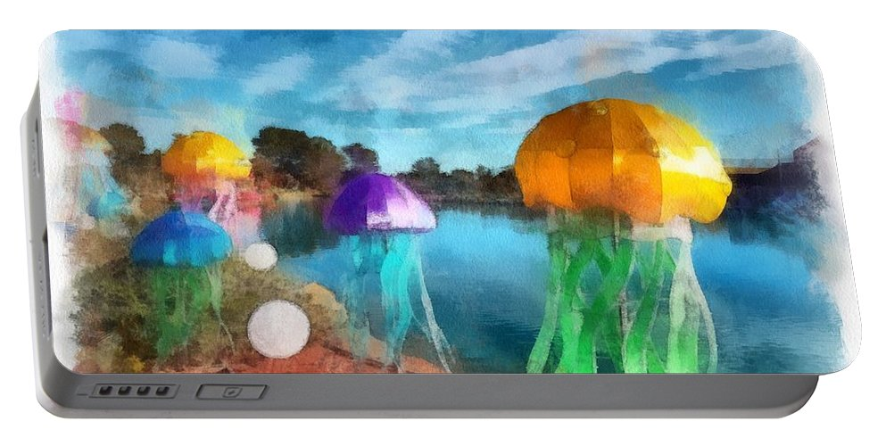 Portable Battery Charger featuring the mixed media Jellyfish by Janet Nielsen