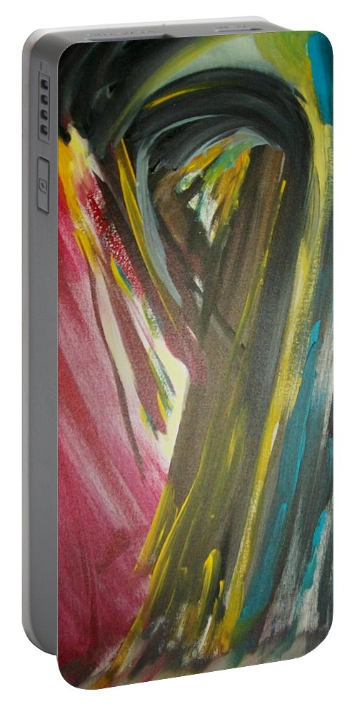 Black Portable Battery Charger featuring the painting Jennifer by Laurette Escobar