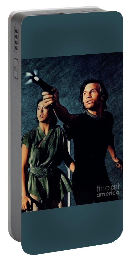 Jenny Portable Battery Charger featuring the digital art Jenny Agutter And Michael York, Logan's Run by Mary Bassett