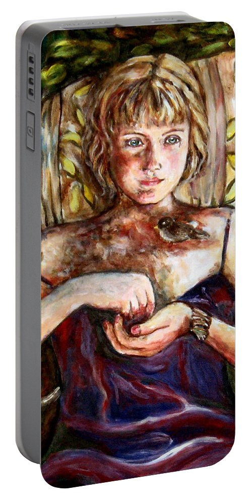 Morning Light Portable Battery Charger featuring the painting Girl And Bird Painting by Frances Gillotti