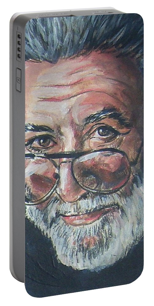 Jerry Garcia Portable Battery Charger featuring the painting Jerry Garcia by Bryan Bustard