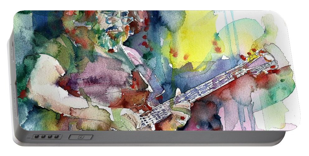 Jerry Garcia Portable Battery Charger featuring the painting Jerry Garcia - Watercolor Portrait.16 by Fabrizio Cassetta