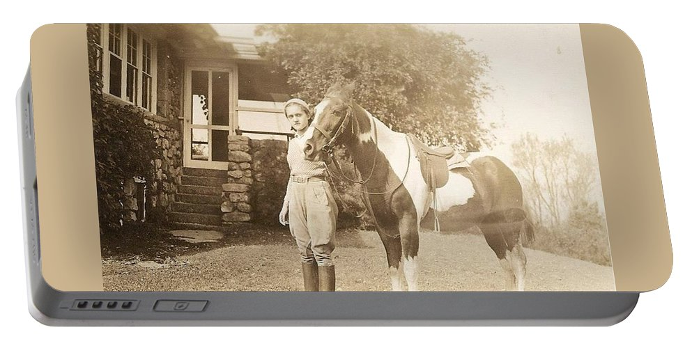 Sepia Toned Photo Portable Battery Charger featuring the photograph Jerry by Harriet Harding