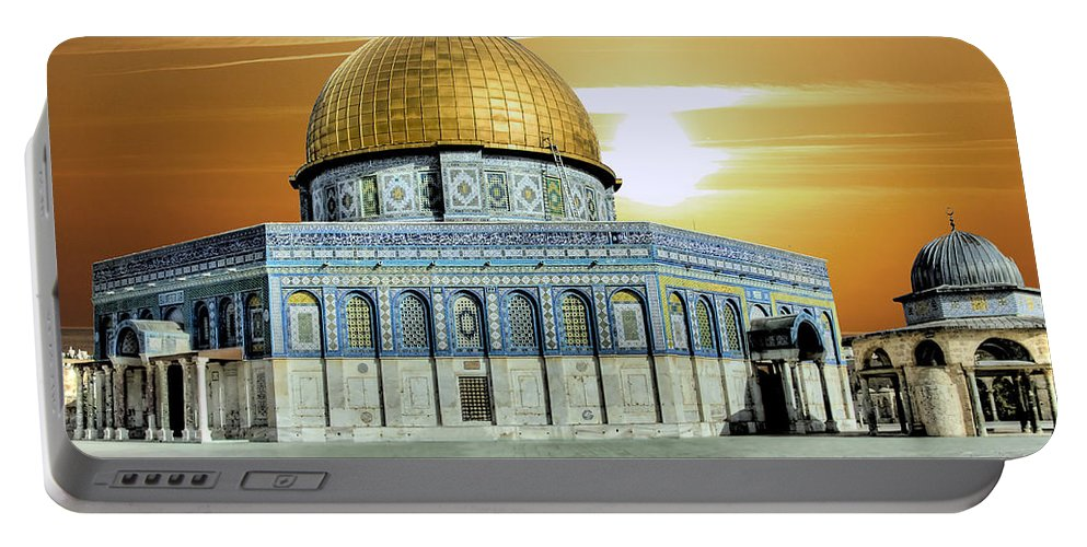 Photograph Portable Battery Charger featuring the photograph Jerusalem - The Light by Munir Alawi
