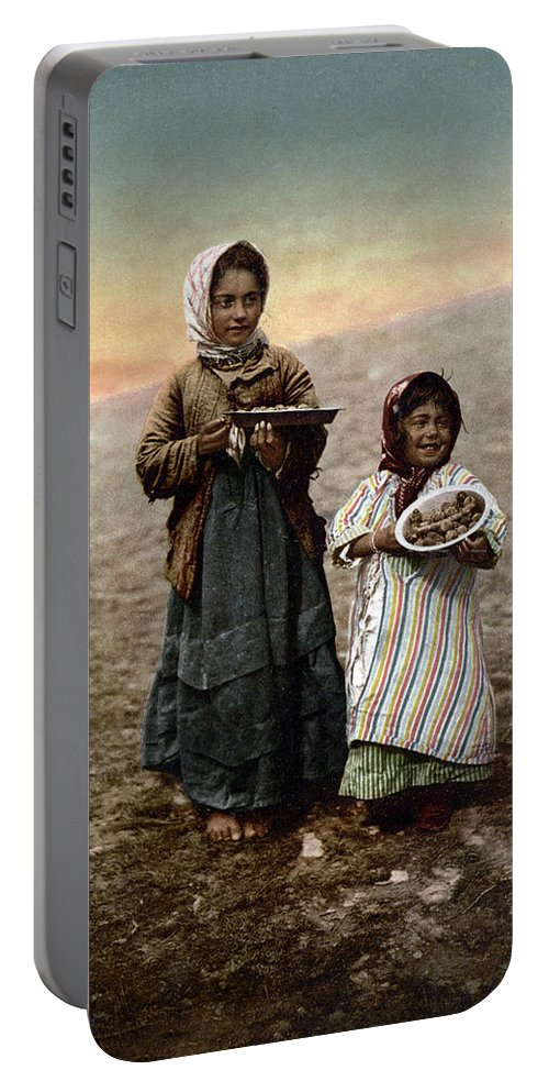 Girl Portable Battery Charger featuring the photograph Jerusalem - Two Little Girls by Munir Alawi