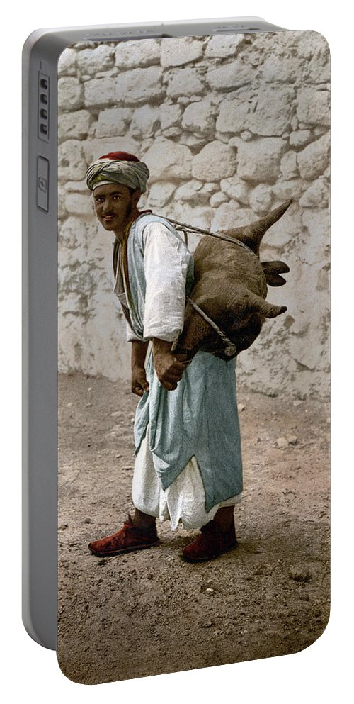 Water Portable Battery Charger featuring the photograph Jerusalem - Water Carrier by Munir Alawi