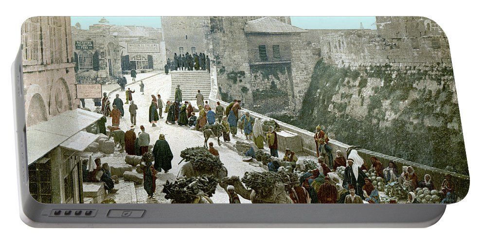 1900 Portable Battery Charger featuring the photograph Jerusalem: Bazaar, C1900 by Granger