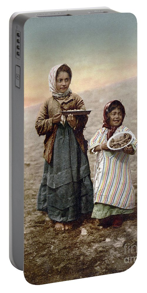 1900 Portable Battery Charger featuring the photograph Jerusalem Girls, C1900 by Granger