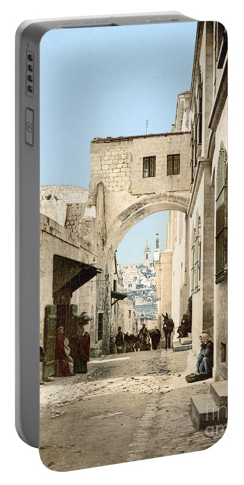 1900 Portable Battery Charger featuring the photograph Jerusalem: Via Dolorosa by Granger