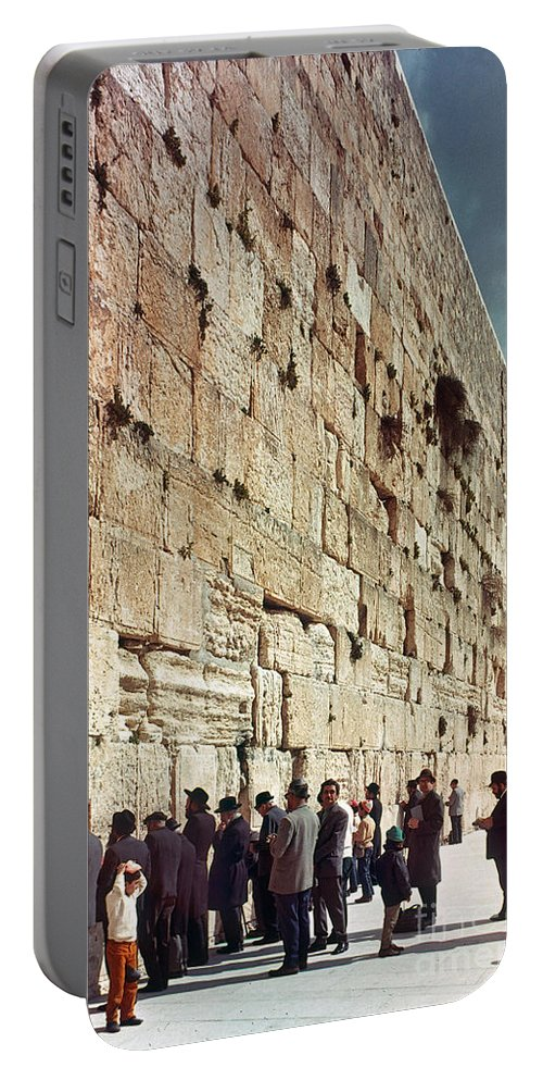 20th Century Portable Battery Charger featuring the photograph Jerusalem Wailing Wall - To License For Professional Use Visit Granger.com by Granger