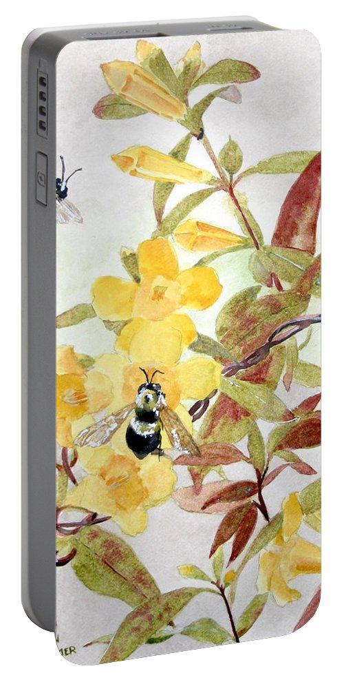 Jasmine Portable Battery Charger featuring the painting Jessamine Bee Mine by Jean Blackmer