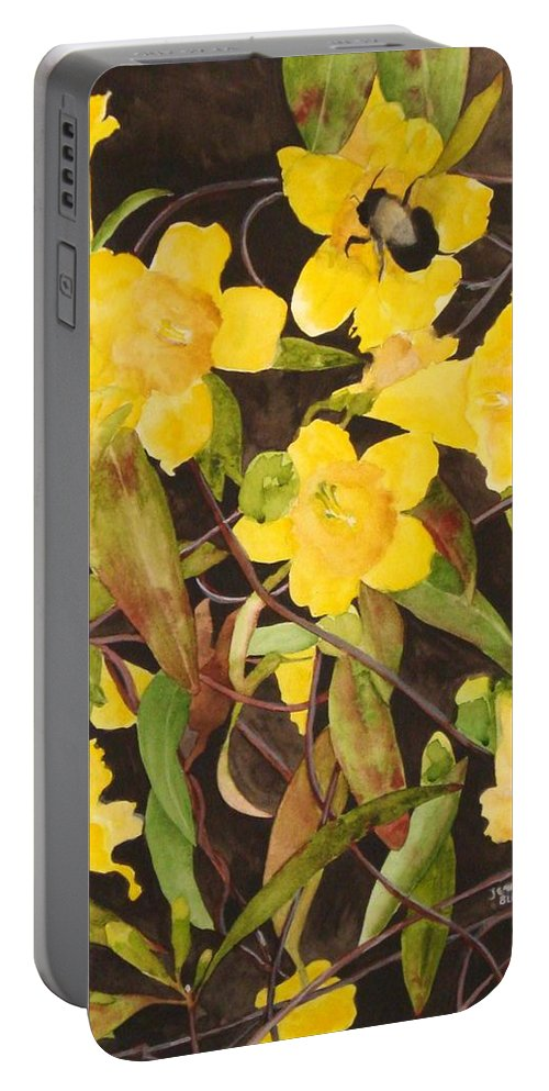 Flowers Portable Battery Charger featuring the painting Jessamine Jungle by Jean Blackmer