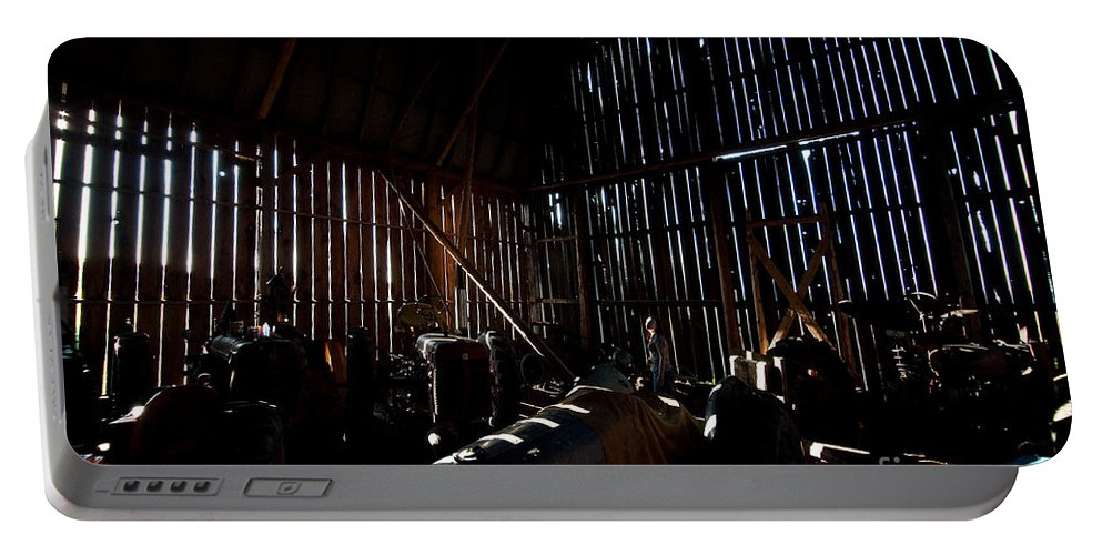 Barn Portable Battery Charger featuring the photograph Jesse's In The Barn by Steven Dunn