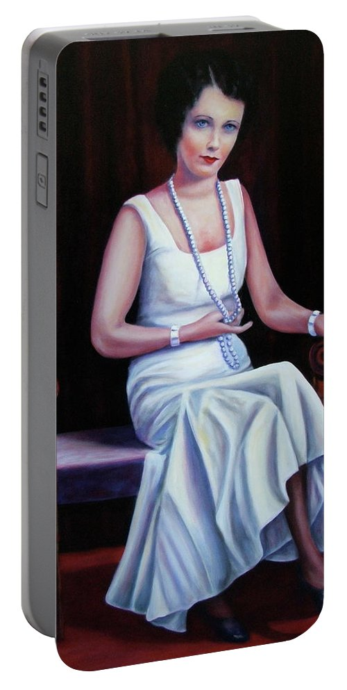 Portrait Portable Battery Charger featuring the painting Jessie Mckay Lane by Shannon Grissom