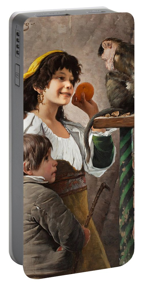 Axel Borg Portable Battery Charger featuring the painting Jesters With Monkey by Axel Borg