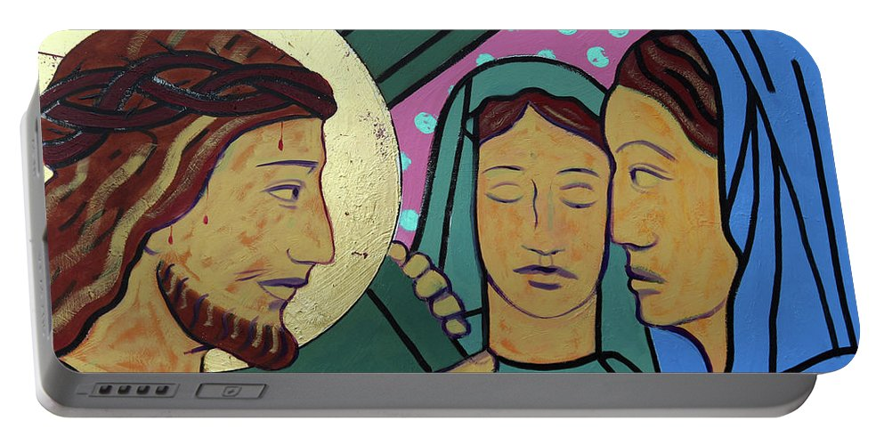 Jesus Portable Battery Charger featuring the painting Jesus And The Women Of Jerusalem by Sara Hayward