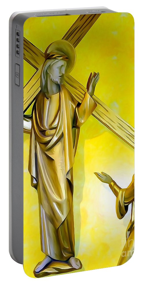 Digital Portable Battery Charger featuring the photograph Jesus Carries The Cross by Ed Weidman