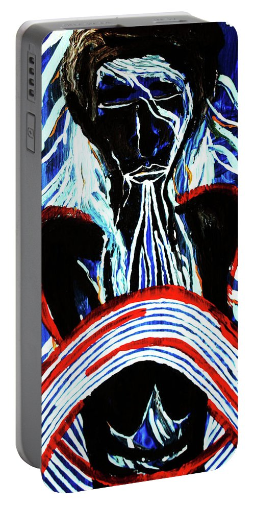 Jesus Portable Battery Charger featuring the painting Jesus Christ's Emergence From The Tomb by Gloria Ssali