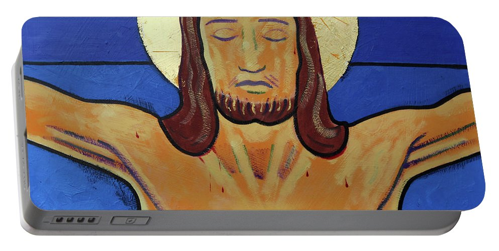 Son Of God Portable Battery Charger featuring the painting Jesus Dies On The Cross by Sara Hayward