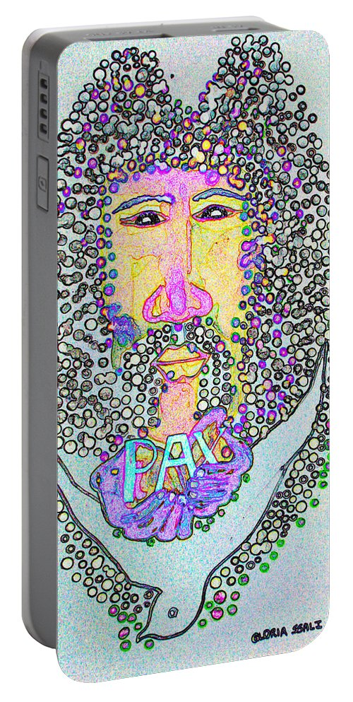 Jesus Portable Battery Charger featuring the painting Jesus King Of Peace by Gloria Ssali