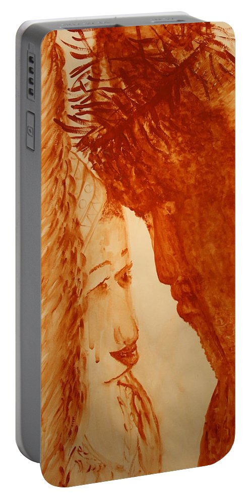Jesus Portable Battery Charger featuring the painting Jesus Meets Mother Mary On The Road To Calvary by Gloria Ssali