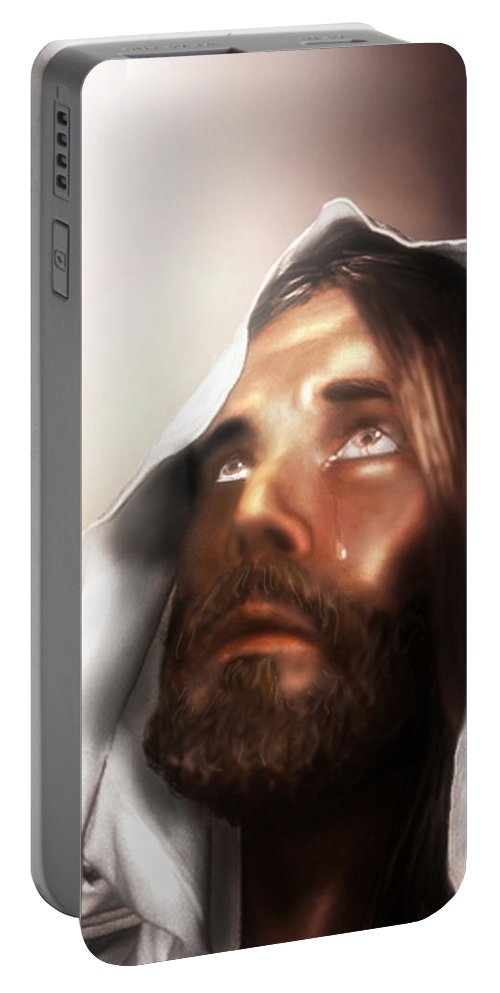 Jesus Portable Battery Charger featuring the mixed media Jesus Wept by Mark Spears