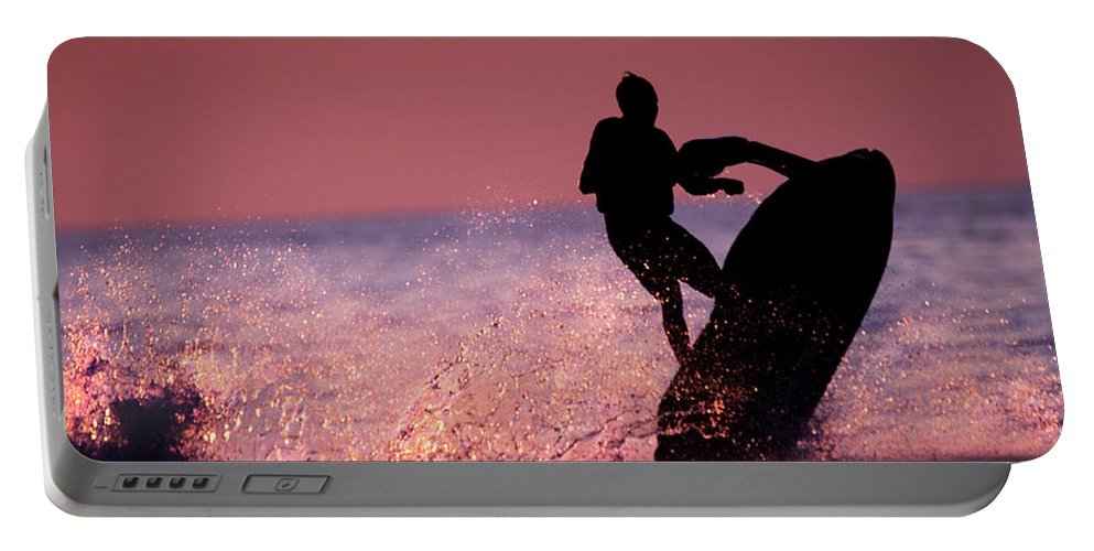 Jet Ski Portable Battery Charger featuring the photograph Jet Ski On Lake Erie by Mark Stephens