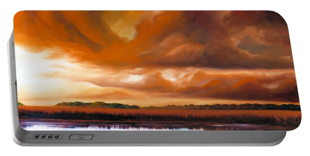 Clouds Portable Battery Charger featuring the painting Jetties On The Shore by James Christopher Hill