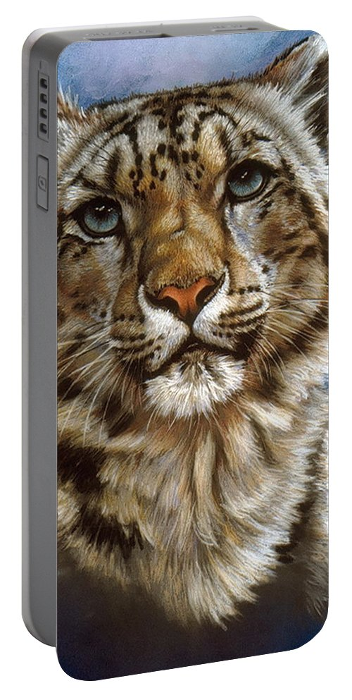 Snow Leopard Portable Battery Charger featuring the pastel Jewel by Barbara Keith