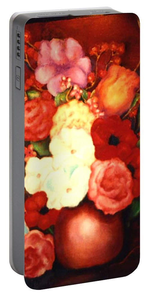 Flowers Portable Battery Charger featuring the painting Jewel Flowers by Jordana Sands