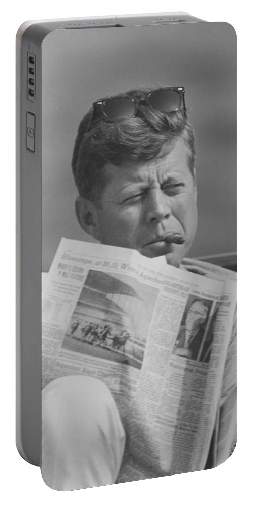 Jfk Portable Battery Charger featuring the photograph Jfk Relaxing Outside by War Is Hell Store