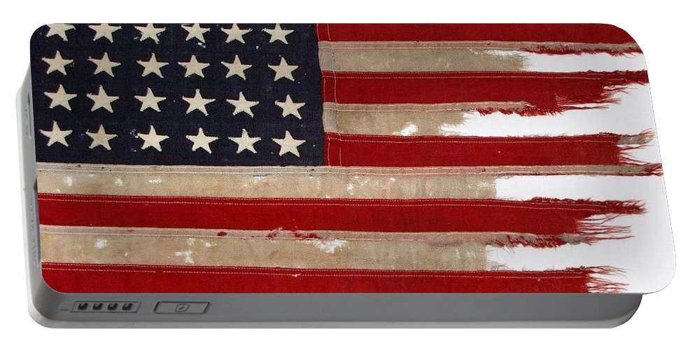 Flag Portable Battery Charger featuring the photograph Jfk's Pt-109 Flag by Lori Pessin Lafargue