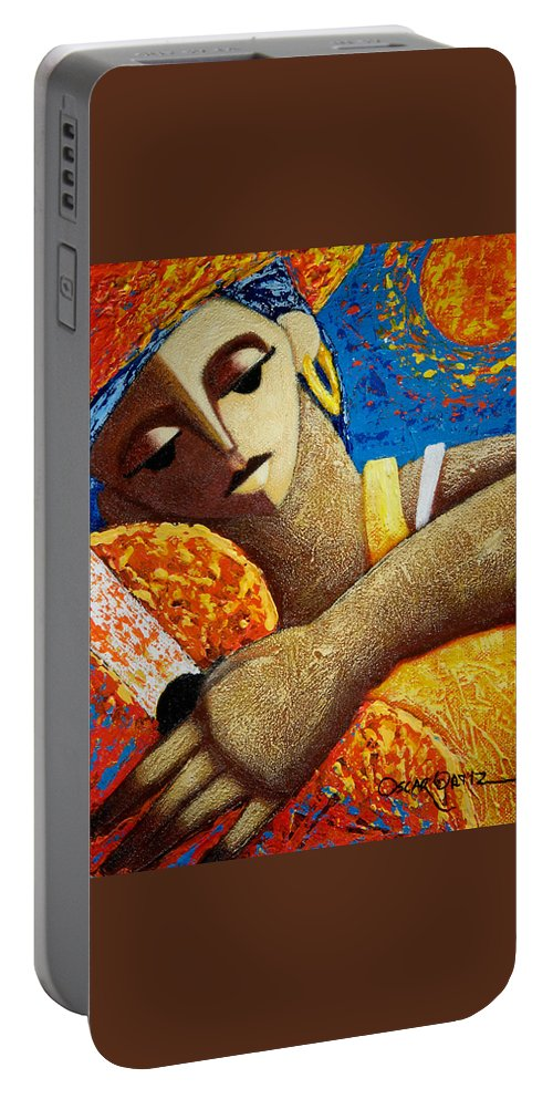 Puerto Rico Portable Battery Charger featuring the painting Jibara y Sol by Oscar Ortiz
