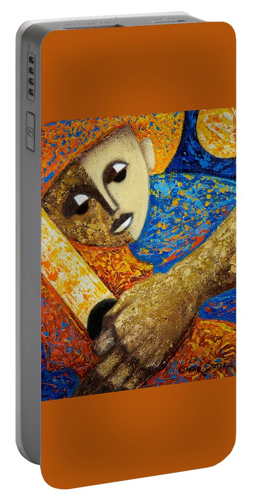 Color Portable Battery Charger featuring the painting Jibaro Y Sol by Oscar Ortiz