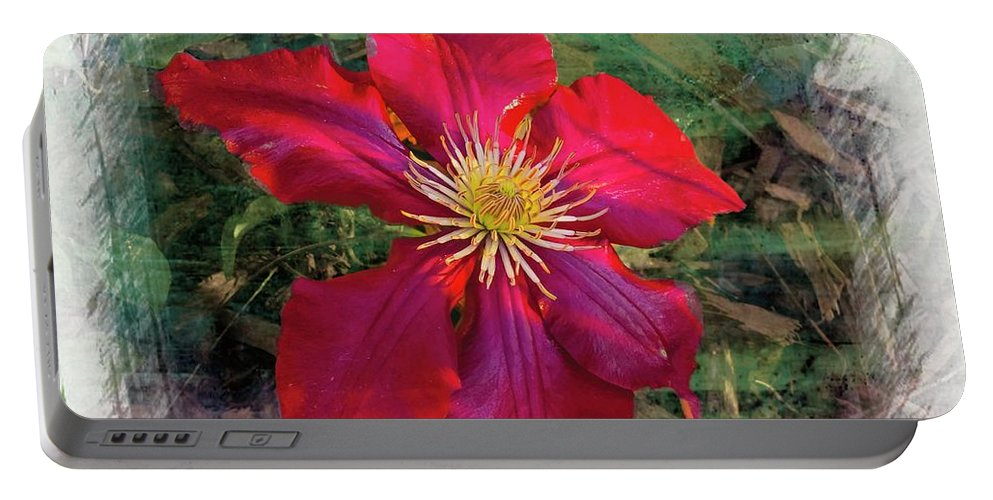 Fall Portable Battery Charger featuring the photograph Clemantis Blossom by Rusty R Smith
