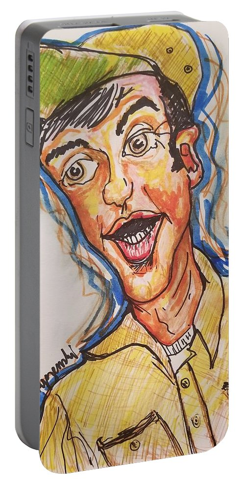 Jim Nabors Portable Battery Charger featuring the drawing Jim Nabors by Geraldine Myszenski