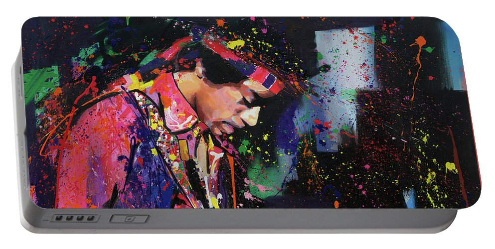 Jimi Portable Battery Charger featuring the painting Jimi Hendrix II by Richard Day