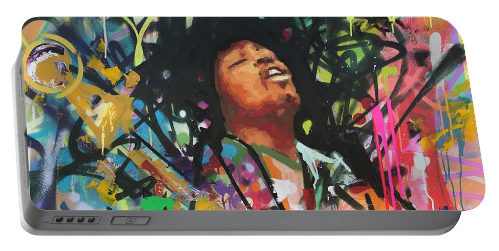 Jimi Portable Battery Charger featuring the painting Jimi Hendrix III by Richard Day