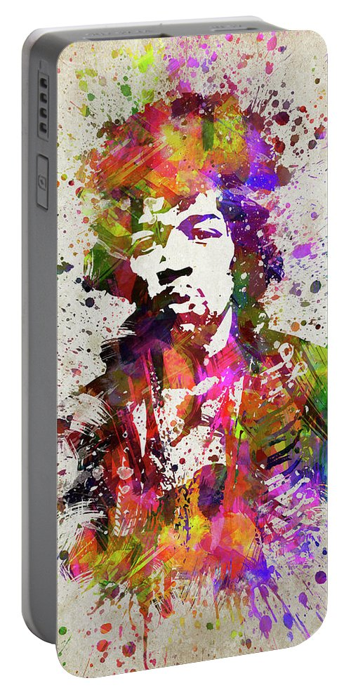Jimi Hendrix Portable Battery Charger featuring the digital art Jimi Hendrix In Color by Aged Pixel