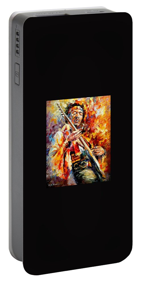 Music Portable Battery Charger featuring the painting Jimi Hendrix by Leonid Afremov