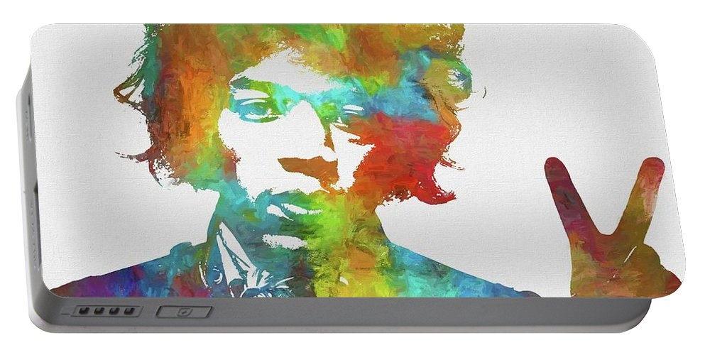 Jimi Portable Battery Charger featuring the painting Jimi Hendrix Peace by Dan Sproul
