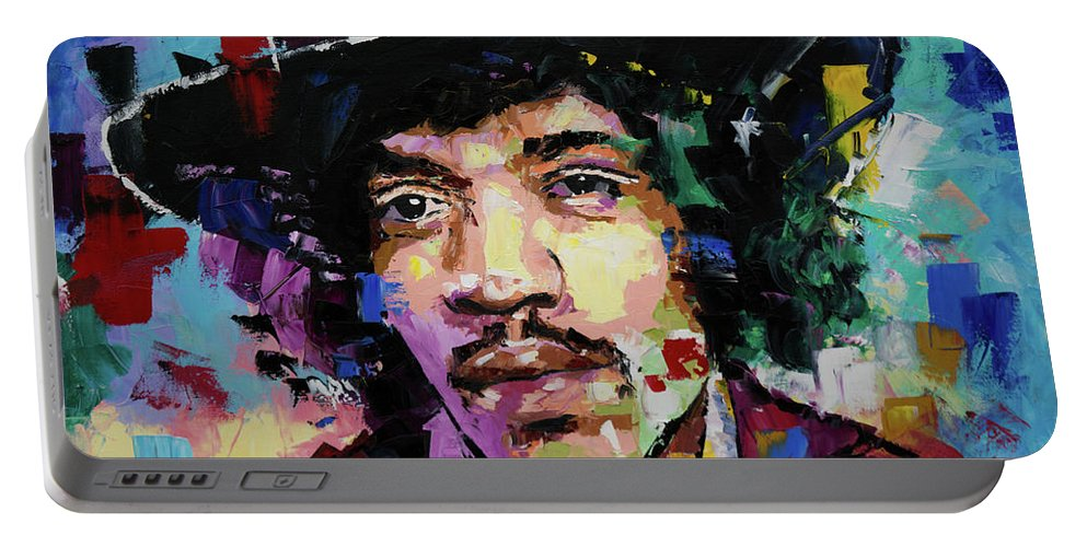 Jimi Hendrix Portable Battery Charger featuring the painting Jimi Hendrix portrait II by Richard Day