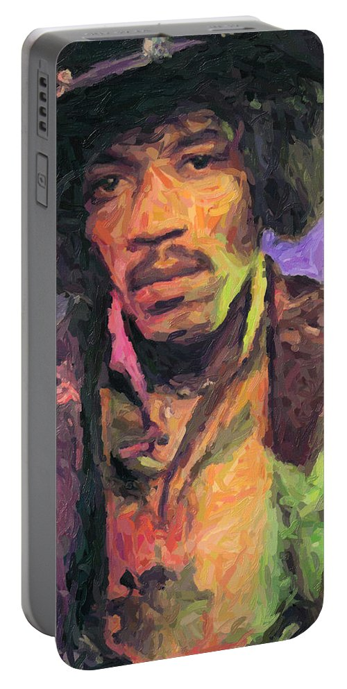 Jimi Hendrix Portable Battery Charger featuring the painting Jimi Hendrix by Zapista OU
