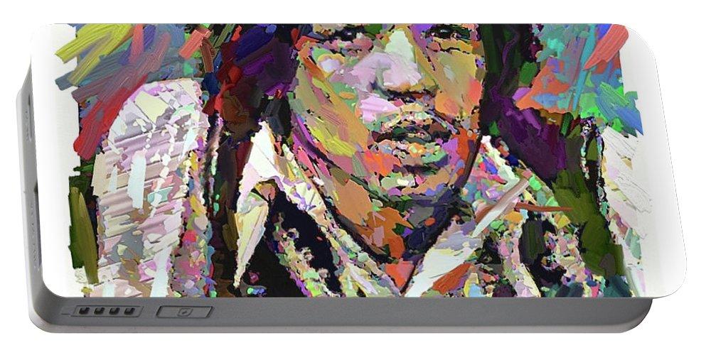 Jimi Hendrix Music Portrait Musician Rock Portable Battery Charger featuring the digital art Jimi by Scott Waters